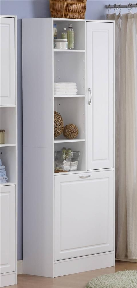 Linen Cabinet W Laundry Hamper Bathroom