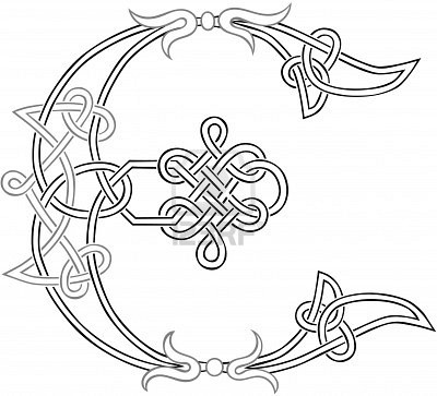 A Celtic Knot-work Capital Letter E Stylized Outline Stock Photo