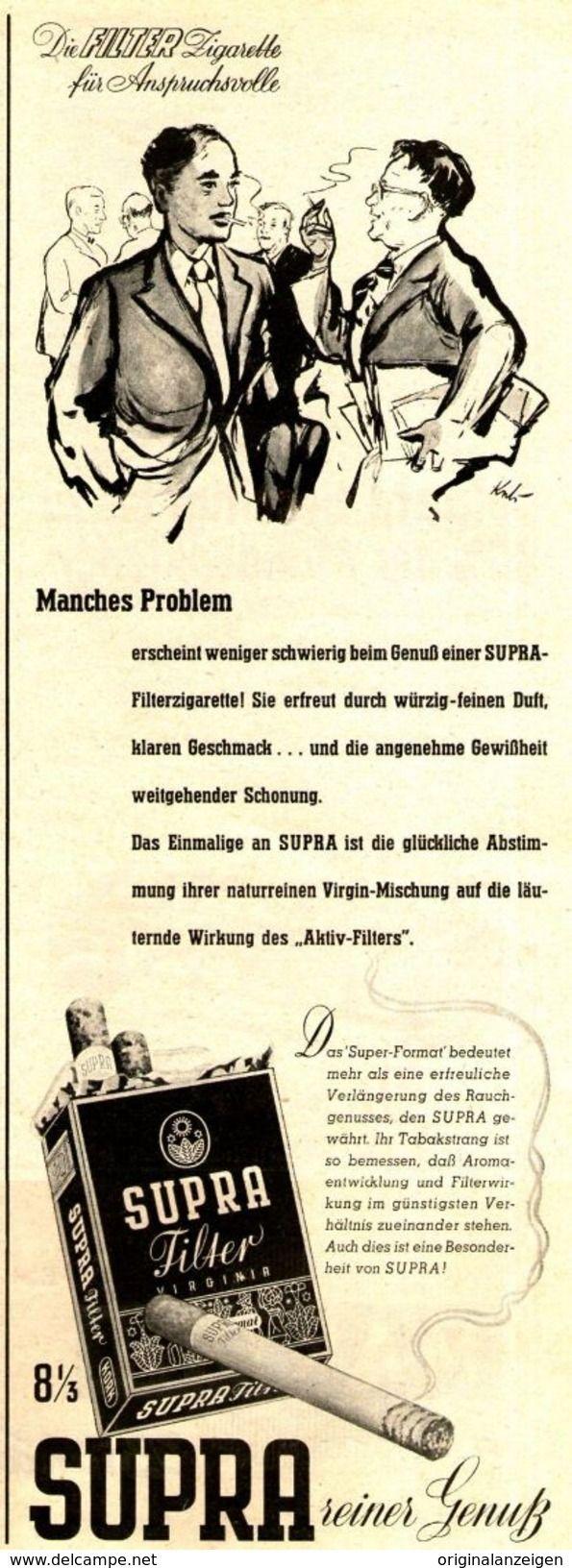Original-Werbung/ Anzeige 1955 - SUPRA FILTER CIGARETTEN - Ca. 110 X 310 Mm - Werbung