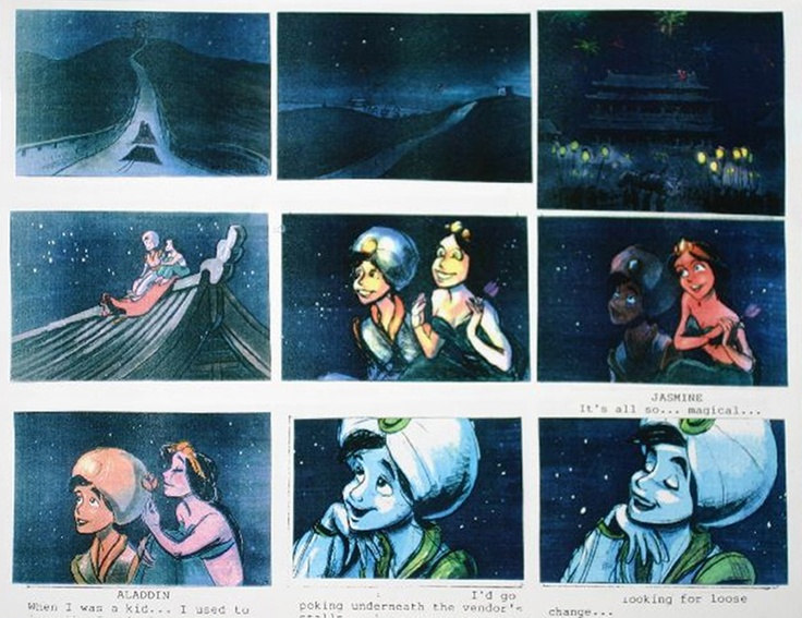 """Storyboard art for the rooftop fireworks scene for the movie """"Aladin"""". One of my favorite movies"""