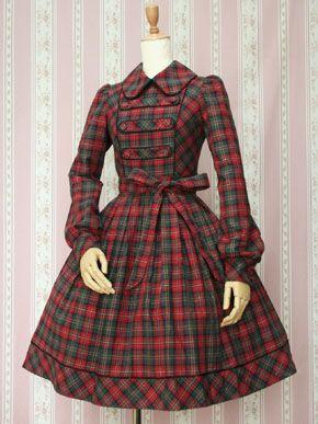 Victorian Maiden British Check Dress in Apple