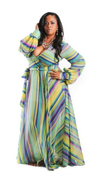 New Plus Size Lime Green PinkYellowGreen  Purple Chiffon Gown Im Obsessed with These Maxi Dresses from Chic and Curvy Boutique