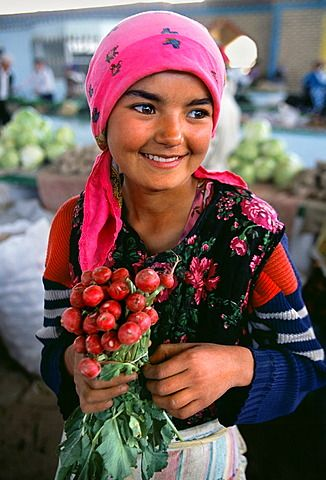 Girl in Bazaar Bukhara, Silk Road, Uzbekistan, Central Asia