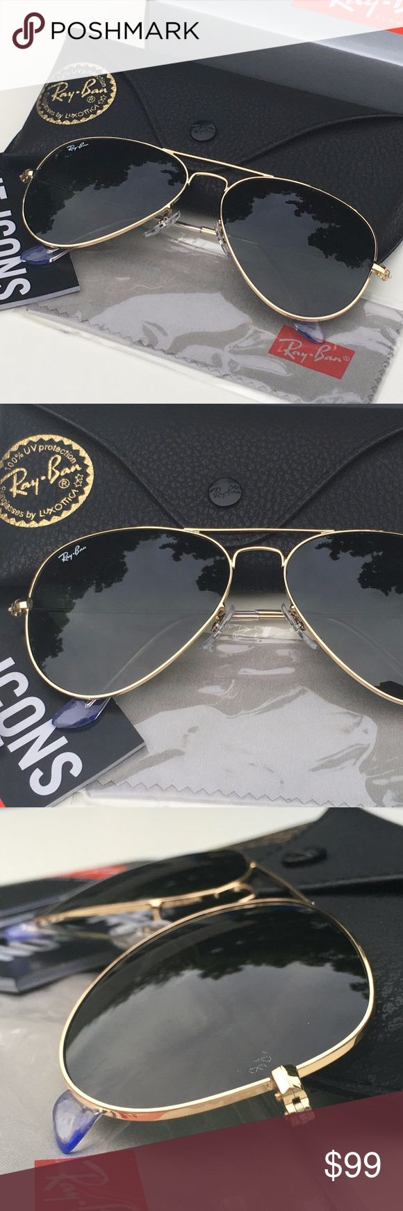 NWT RAY-BAN AVIATOR Sunglasses Green Classic/Gold 100% AUTHENTIC & BRAND NEW  Original RAY-BAN AVIATOR Sunglasses Green Classic - Gold Frame Model: RB3025 - L0205 (58mm)  -----------------------------------------------------------------  Product Description: Brand: Ray-Ban (100% Authentic) Lens Color: Blue Flash Frame Color: Gold Model: RB3025 Color Code: L0205 Size: 58mm/14/3N Gender: Unisex Made: Italy  Package Includes:  - Ray-Ban Outer Paper Box - Ray-Ban Carrying Case - Ray-Ban Cleaning…