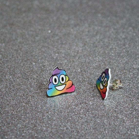 rainbow poop emoji earrings by aprilzhangdesigns on Etsy