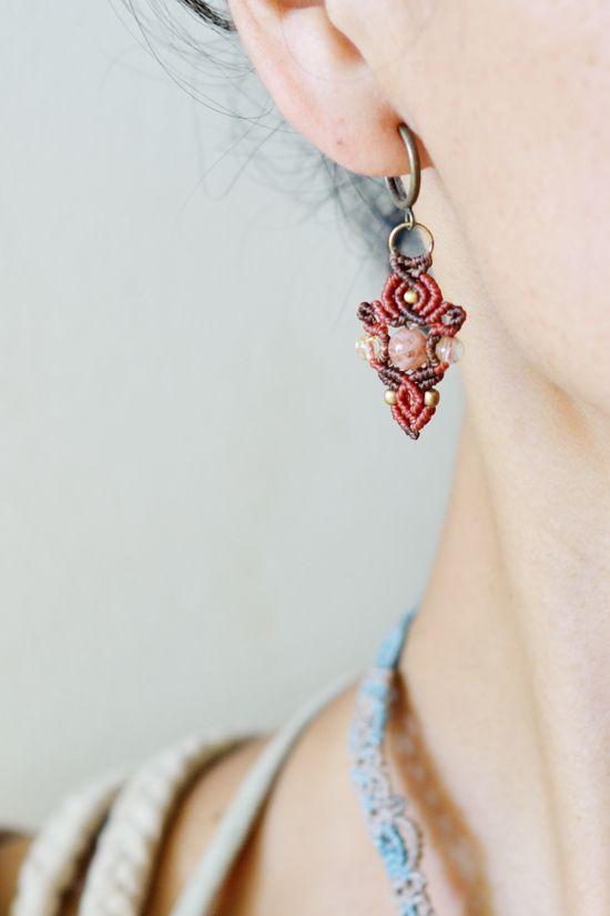 Macrame earrings - Tuwa Earth Crafts