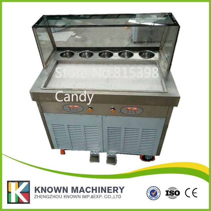fried ice cream machine with temperature control box and 1 cabinet 6 cooling box
