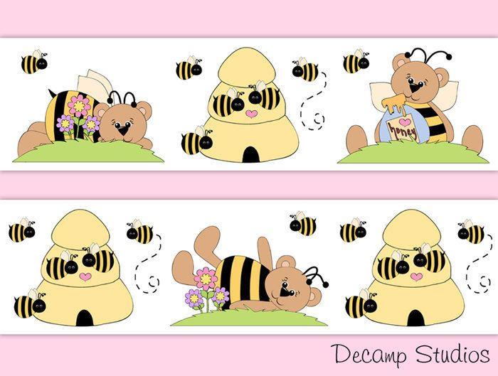 BUMBLE BEE BEAR Nursery Baby Girl Wallpaper Border Wall