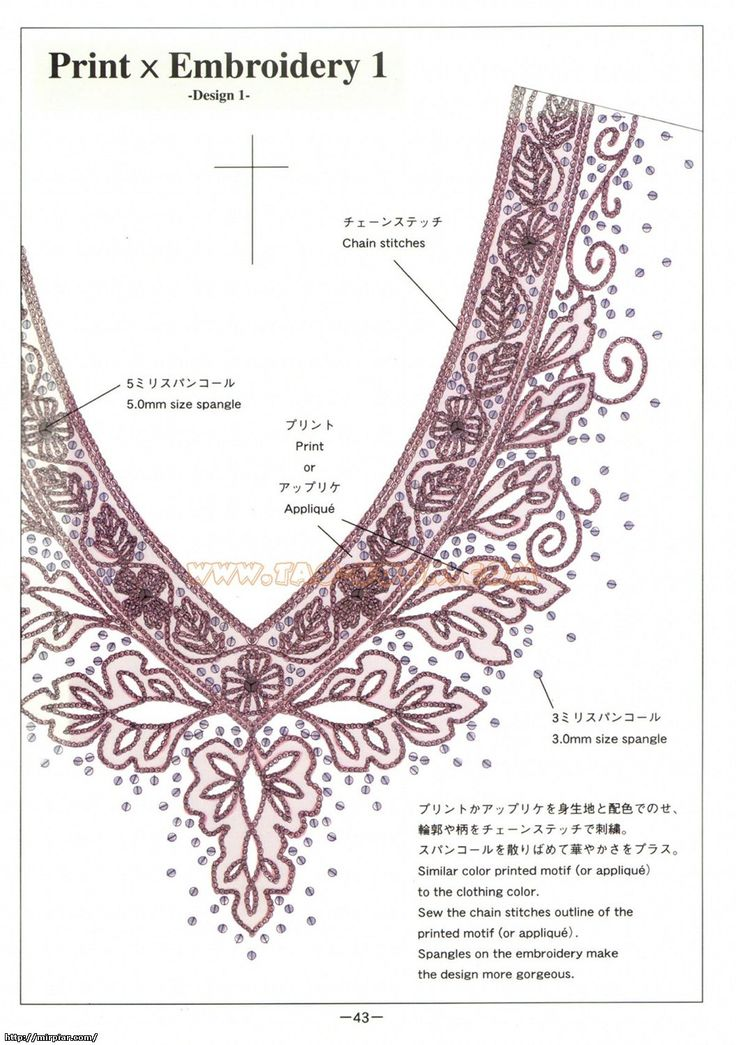 Вышивка у горловины схемы