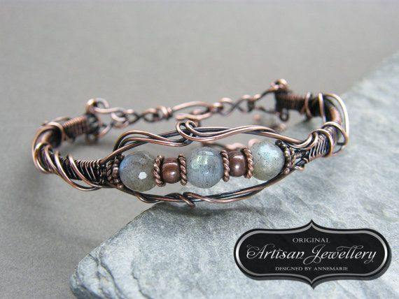 Antique copper wire wrapped gemstone bracelet ~ Labradorite ~ Unique gift ~ Birthday gift for her ~ Anniversary gift ~ Unusual copper bangle