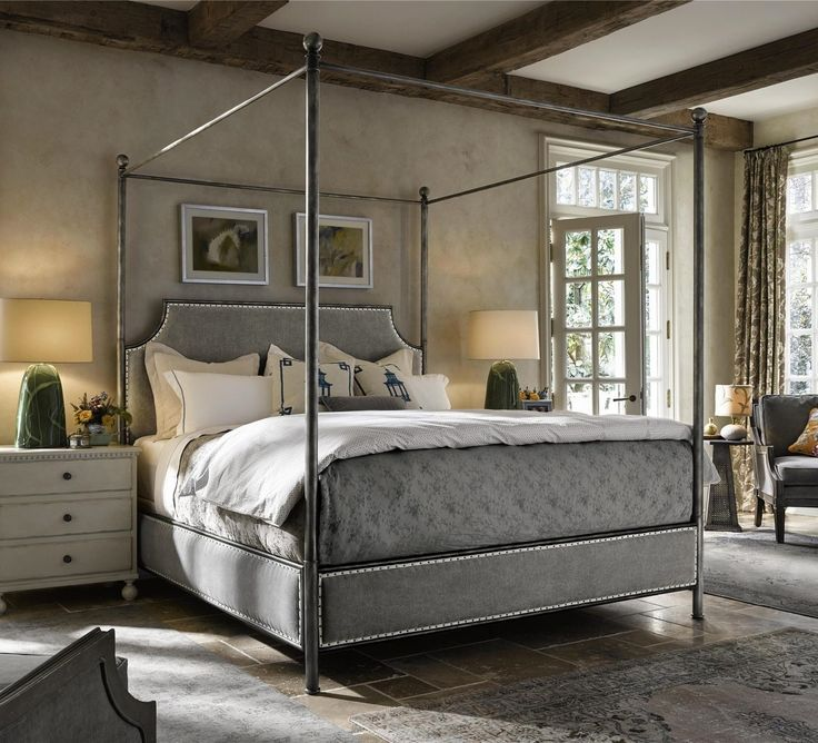 Sojourn Grey Linen Upholstered King Iron Canopy