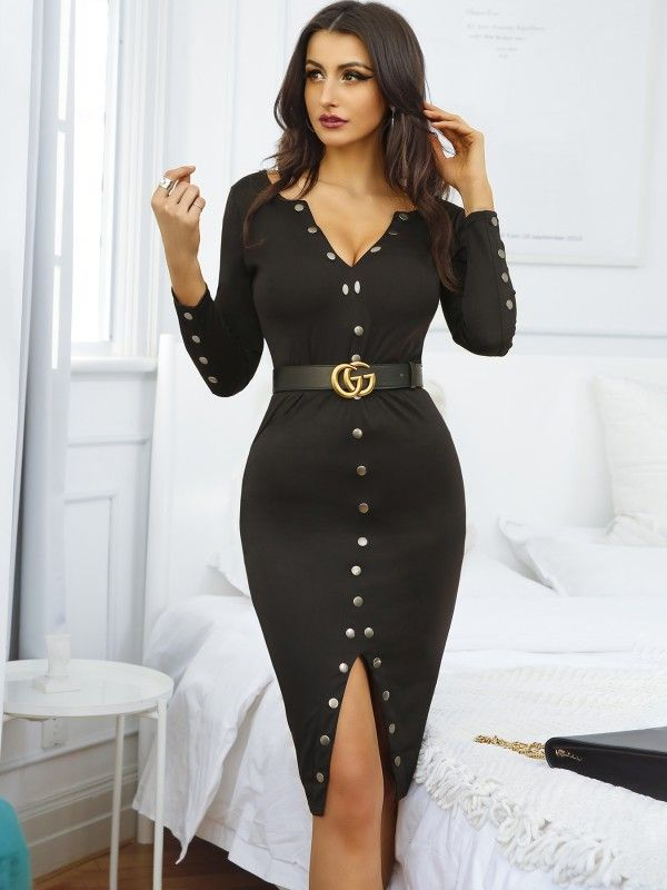8b83985414d5 Stylish Snap Button Design Midi Bodycon Dress