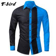 T-bird 2017 hombres camisa de algodón camisas casual brand clothing hombres da vuelta-abajo de manga larga de costura masculina camisas de vestir grandes tamaños(China (Mainland))