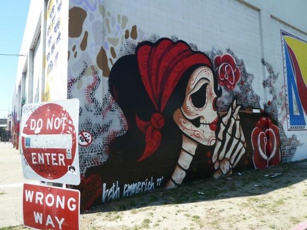 Buildings wrapped in paintings - off Mandela Parkway, West Oakland