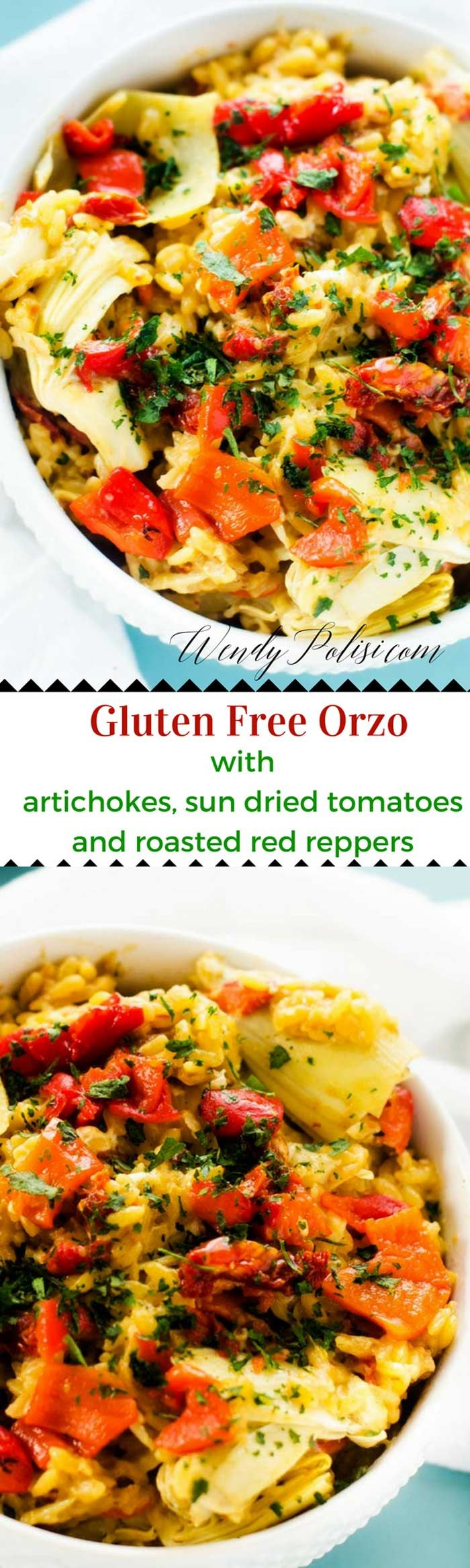 Gluten Free Orzo with Artichokes, Sun Dried Tomatoes & Roasted Red Peppers - This Gluten Free Orzo with Artichokes, Sun Dried Tomatoes & Roasted Red Peppers is an easy to make side dish or vegetarian meal. via @wendypolisi