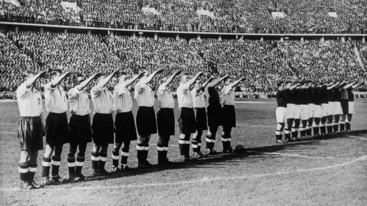 The English football team giving the Nazi salute, 1938