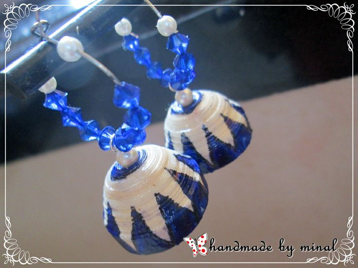 blue n cream hoop jhumka by chocolates and creativity corner