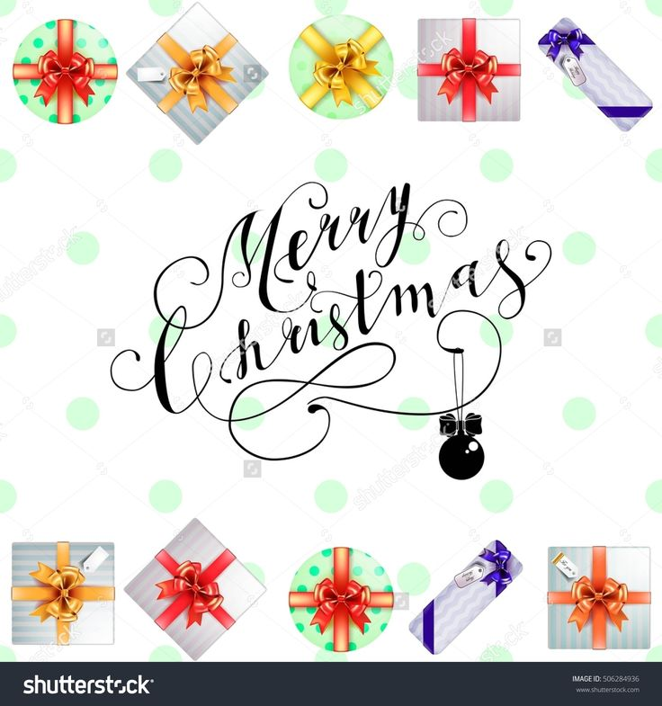Lettering Merry Christmas. Christmas symbols and beautiful gift boxes with ribbons. Holiday calligraphy. Vector illustration