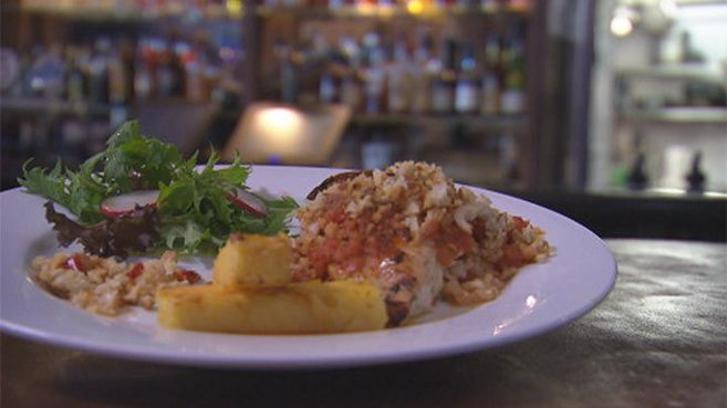 Stuffed Chicken Breast with Chilli Breadcrumbs and Polenta Chips