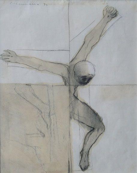 Crucifixion Study, 1970, Richard Ciccimara, graphite and wash, 9 3/4 x 7 3/4 in., Victoria, British Columbia, Canada.