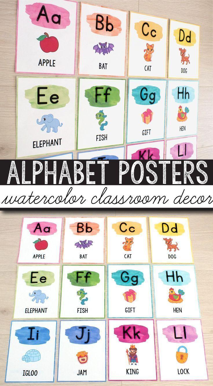 Free Alphabet Posters Watercolor Classroom Decor Watercolor Classroom Alphabet Poster First Grade Classroom