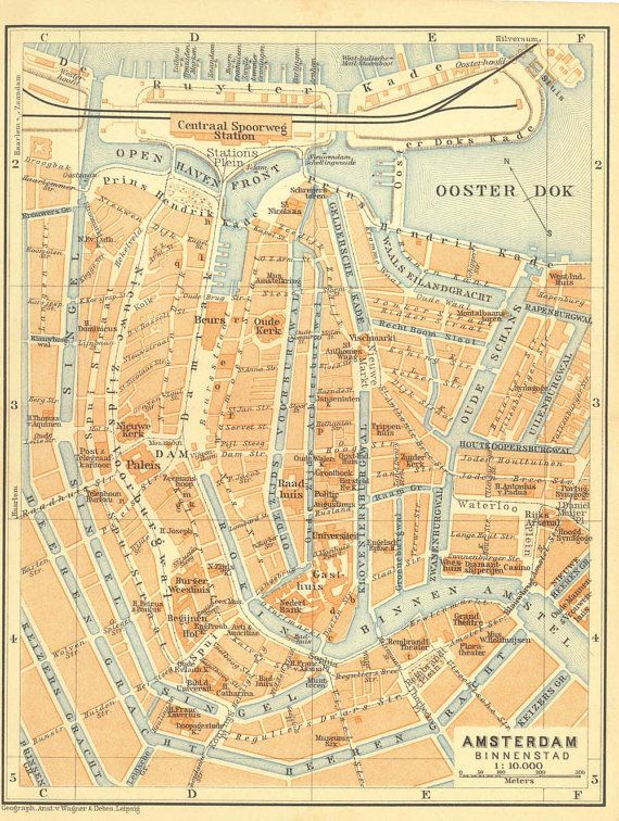 1910 Amsterdam Vintage Map, City Center, Street Map, Original, Netherlands