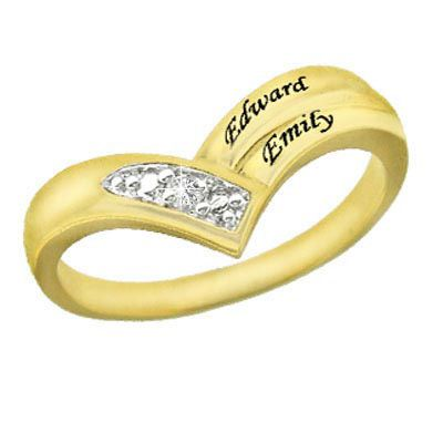 Chevron Diamond Accent Couple's Ring in Sterling Silver with 24K Gold Plate (2 Names) - Zales