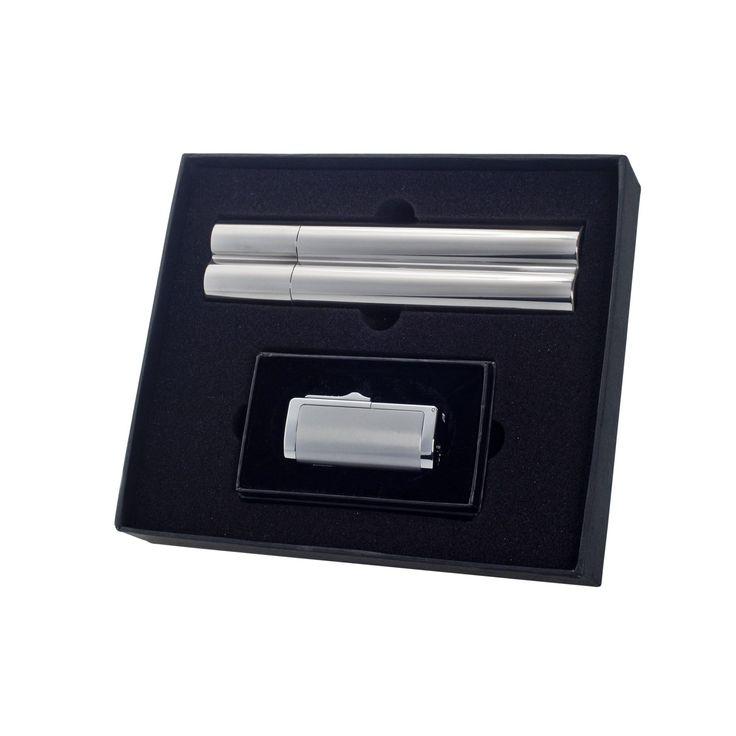 """Visol """"Holtz"""" Flask & Cigar Tube Combo - Lighter Gift Set"""