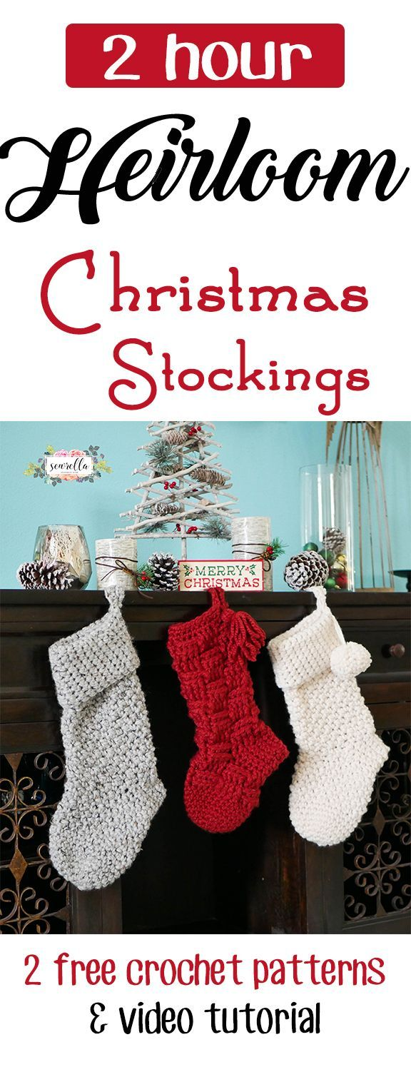 Heirloom Crochet Stockings made in 2 hours or less! | 2 FREE Patterns from Sewrella