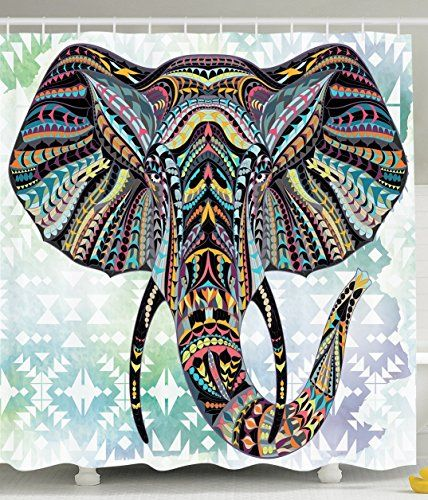 Cool Shower Curtains Elephant of Many Colors, funky and fun shower curtains that mirror your individuality should…