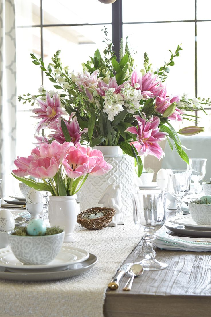 Easter lillies table dishes flowers tablescape bunnies happy easter egg holder nests11