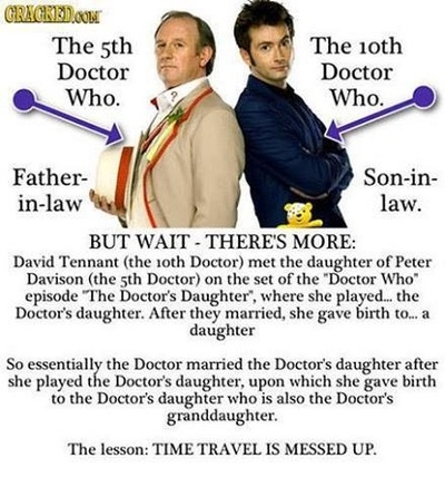 [Species5618] David Tennant's wife also went to school with the daughter of Colin Baker, who played the Sixth Doctor.