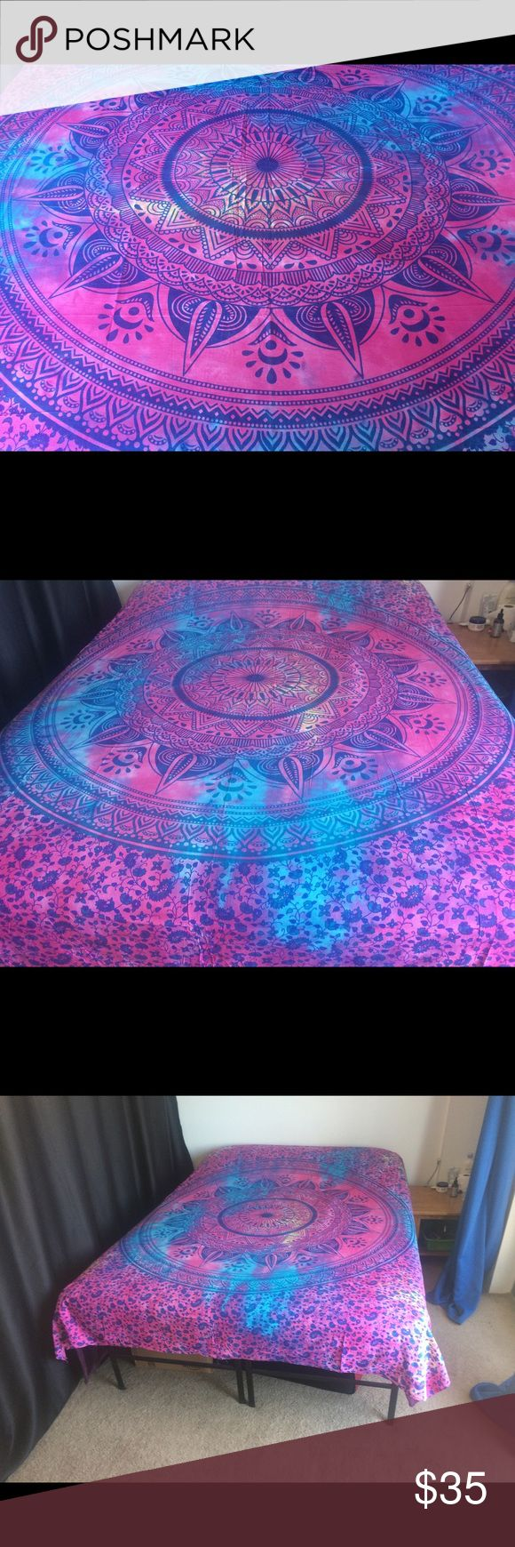 "kids Teens dorm room decor bed wall spread  Brand new.Handmade with natural dyes.  Uses: bed spread, couch spread, curtains, wallhangings, Celling decor, beach mat, picnic mat, table cloth, yoga & meditation.  Size: 90"" X 84"" inch ( Queen bed)   Material;100% Cotton  Wash: cold wash    #gypsylife #tapestry #mandala #yogamat #mandala #burningman, #birthdaygift, #beachtowel #bedspread #walldecor #gift #boho #hippy #gypsy #wallhanging #yogamat #bedsheet #bedspread #bedding #  #party…"