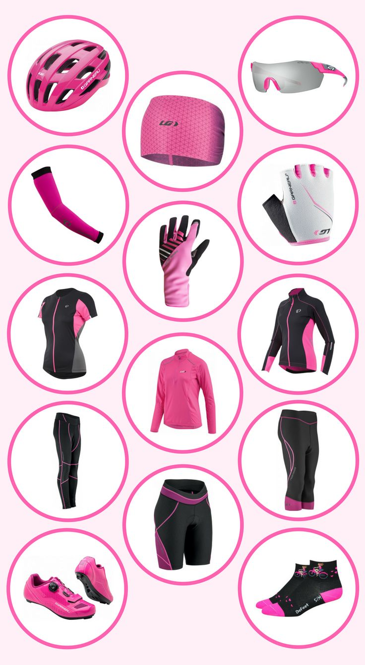 This is a beginner's guide to cycling gear. It uses stylishly fabulous pink cycling gear as an example of what type of clothing is out there for you to wear! Whether it's road cycling, mountain biking, bike touring, indoor cycling, or a spinning workout, here are some ideas for your cycling outfit! This is a list of fitness gear to consider for your cycling workout.