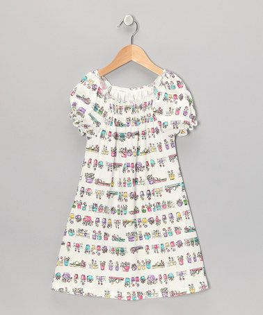 Take a look at this White Flower Pot Shirred Cap-Sleeve Dress - Toddler & Girls by Moo Boo's on #zulily today!