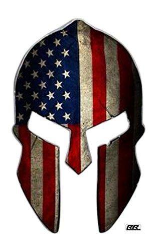 Large Spartan Gladiator 300 Helmet American Flag Patriotic Car Decal Bumper Sticker