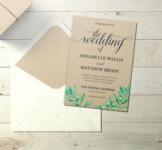Kraft Invitation Printable Kraft Wedding Invitation Template Etsy Wedding Invitation Templates Kraft Wedding Invitations Wedding Invitations Diy Rustic