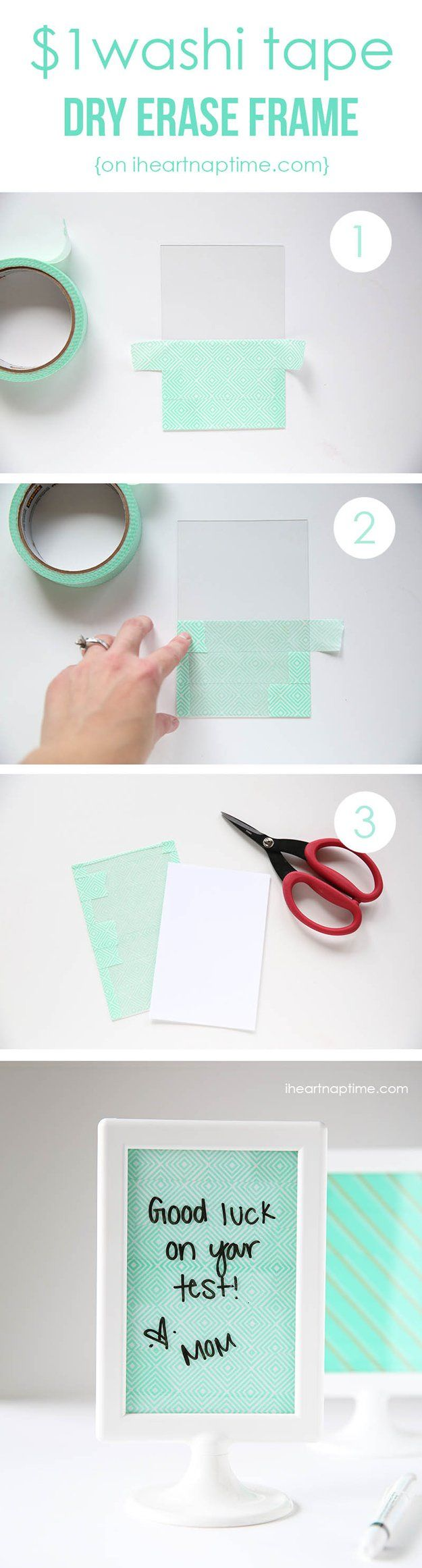 Washi Tape Crafts - Cute DIY Dry Erase Frame - Wall Art, Frames, Cards, Pencils, Room Decor and DIY Gifts, Back To School Supplies - Creative, Fun Craft Ideas for Teens, Tweens and Teenagers - Step by Step Tutorials and Instructions http://diyprojectsforteens.com/washi-tape-crafts