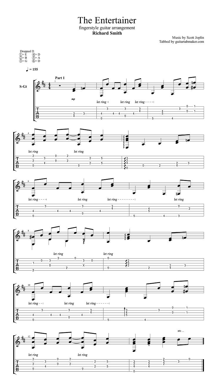 Richard Smith The Entertainer Fingerstyle Guitar Tab Pdf