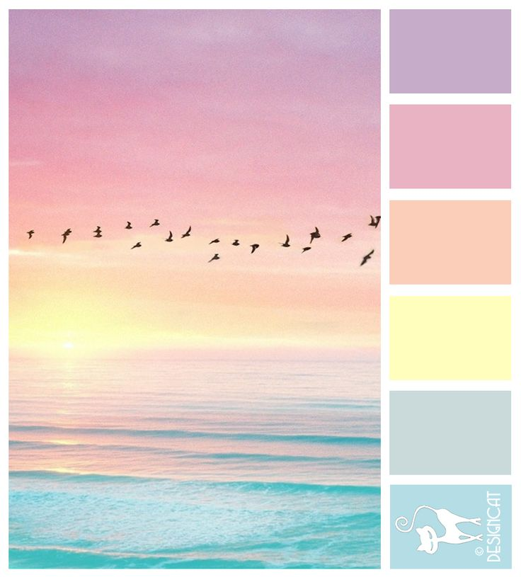 Candy sunrise - blue, turquoise, pale, pastel, Tiffany, lilac, yellow, green, orange, pink, lilac, watercolour Designcat Colour Inspiration Board