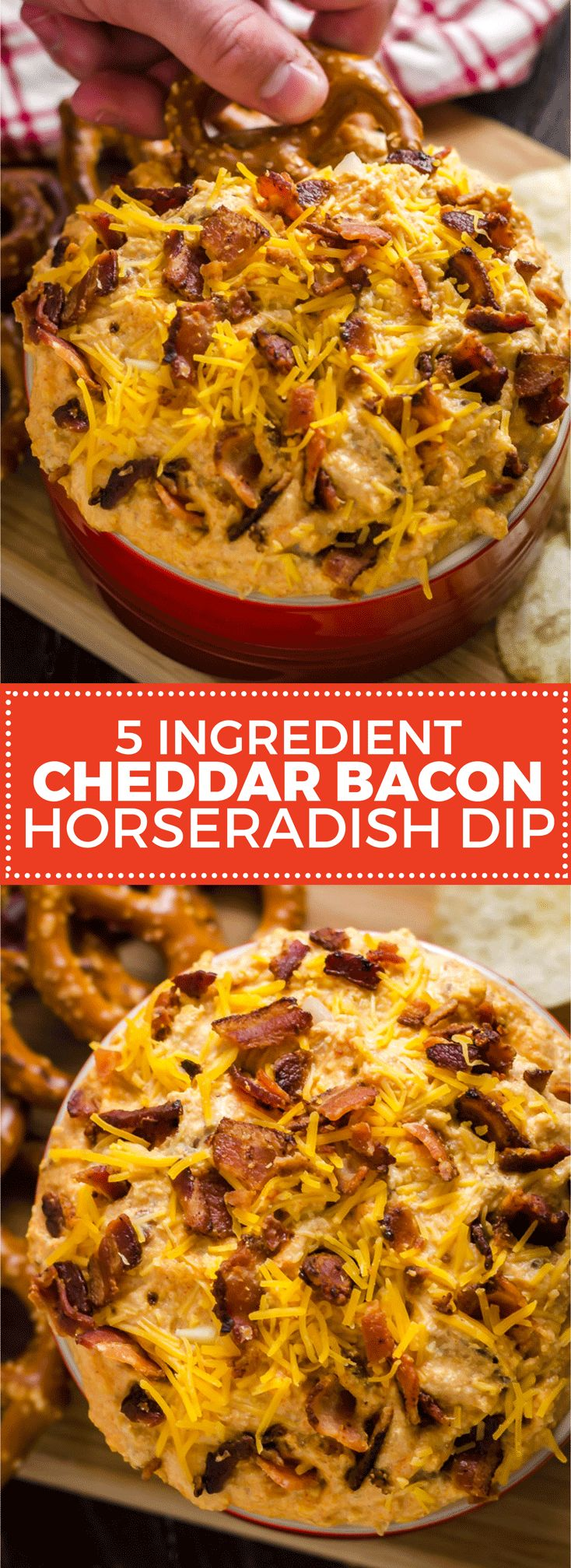 5 Ingredient Cheddar Bacon Horseradish Dip. Forget rushing around to buy food for the party, this simple dip brings it all. It uses just bacon, onions, cheese, sour cream, and horseradish, but is loaded with flavor. It makes a great spread, too! | hostthetoast.com