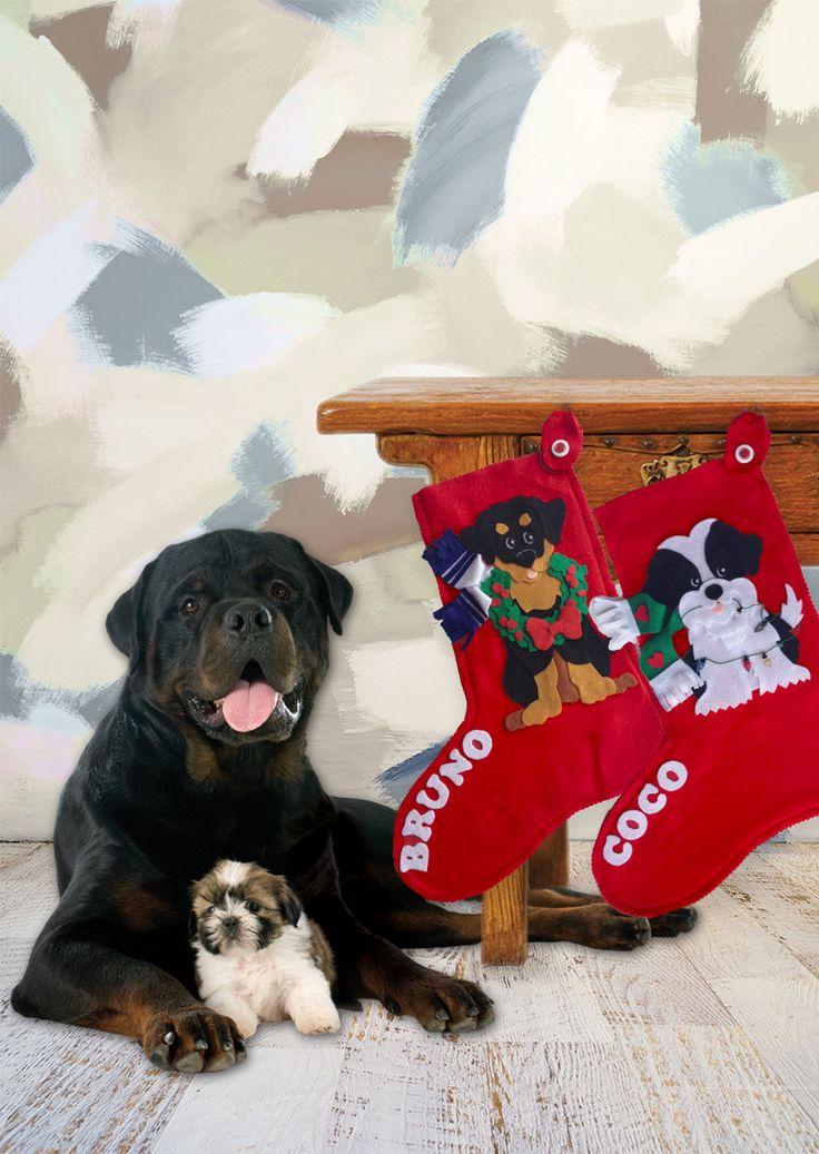 Dog personalized christmas stockings xmas stockings red for Personalized dog christmas stocking