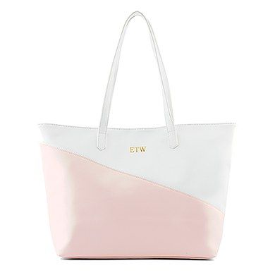 6a77e0e23 Large Personalized Color Block Faux Leather Tote Bag- Blush Pink and White