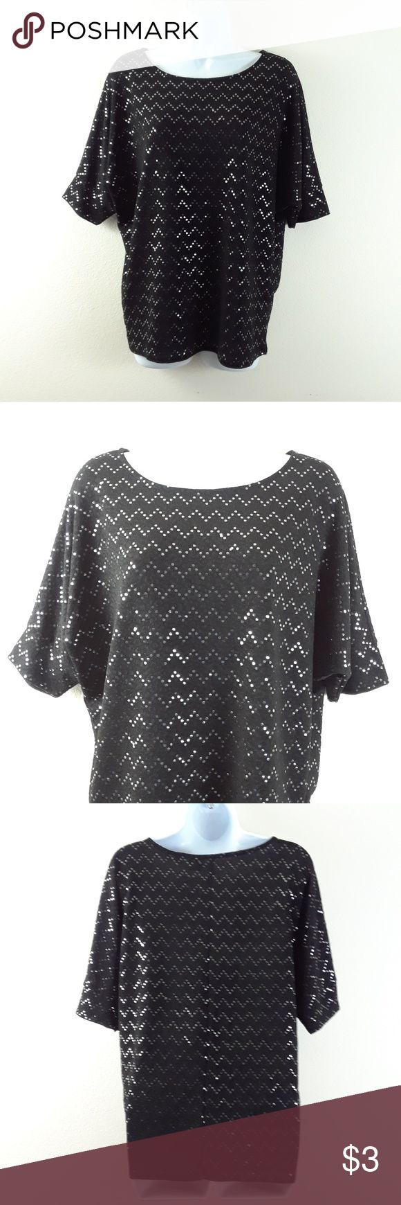 NEW DIRECTIONS BLACK SEQUINED CHEVRON TOP Size medium, 95% polyester,  5% spandex. new directions Tops Blouses