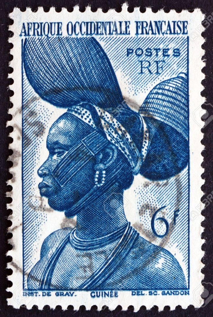 FRENCH WEST AFRICA - CIRCA 1947: a stamp printed in the France shows Fula Woman, French Guinea, circa 1947