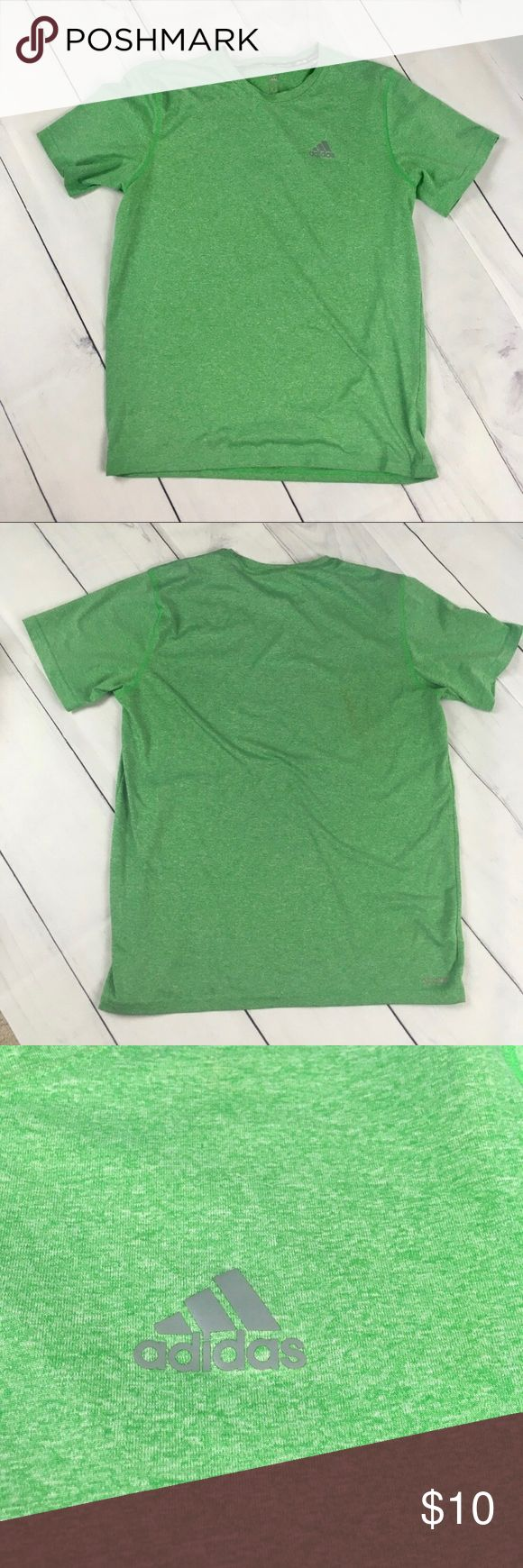 """Men's. Adidas. Green Climalite tee. Green. Med Adidas.  Men's medium athletic tee. Heather green. Very nice and comfortable. Climalite for wickining and keeping dry. Flattened seems for a nice feel on skin. In bright lights while taking photo i noticed a small mark on the back of the shirt as pictured. Hardly noticeable. Otherwise in great condition. Price reflects the minor flaw. Pit to Pit 19.5"""" Length 26""""  [A33] adidas Shirts Tees - Short Sleeve"""