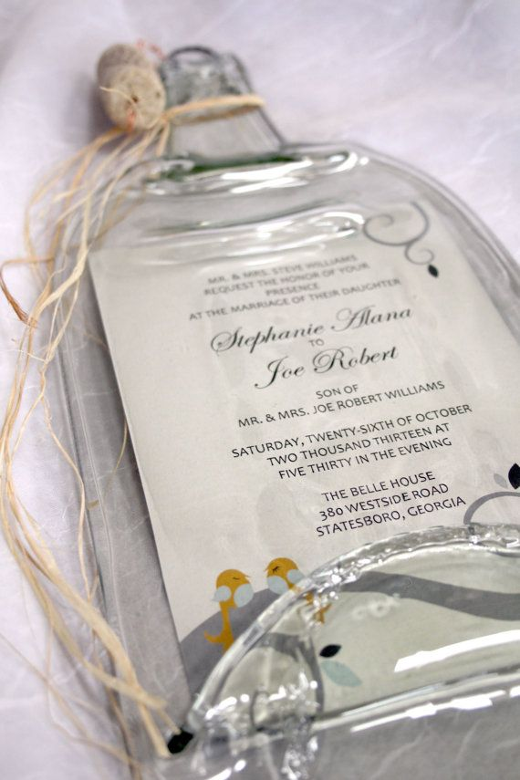 Wedding Invitation Keepsake..... OMG- I want!! https://www.etsy.com/listing/173794662/melted-wine-bottle-with-keepsake-wedding