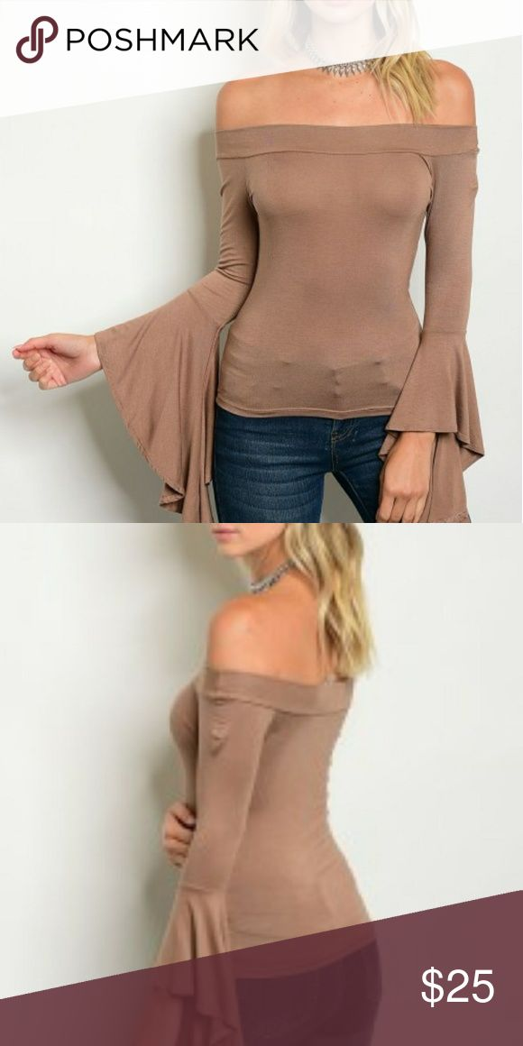 """""""JENNY"""" Off the shoulder camel top Camel off the shoulder top with bell sleeves.  96% rayon  4% spandex Tops"""