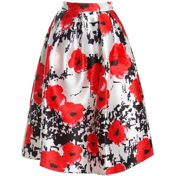 Sans Souci Floral pleated full skirt (€35) ❤ liked on Polyvore featuring skirts, bottoms, red, floral midi skirt, floral a line skirt, red midi skirt, red full skirt and knee length pleated skirt