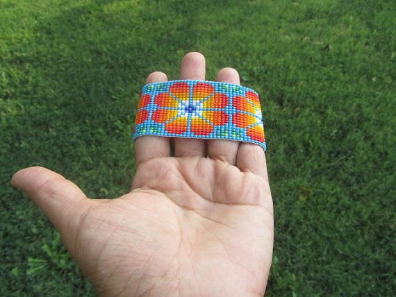 Native Mexican Art  amaizing beadwork bracelet by MAXICA on Etsy, $30.00